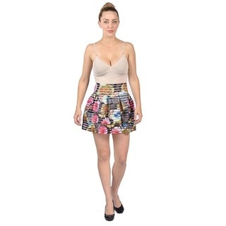 Women's Chiffon Floral Mini Skirt Ruffle High Waist Layered