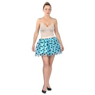 Women's Mini Puff Polka Dots Skirt Blue Black