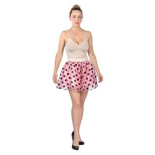 Women's Mini Puff Polka Dots Skirt Pink Black