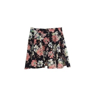 Womens Stretchy Flared Pleates Mini Skater Skirt Floral Black