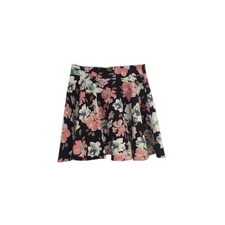 Womens Stretchy Flared Pleates Mini Skater Skirt Floral Black (3 options available)
