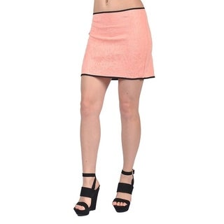 Tyche Women's Fashion Embossed Design Mini Skirts Salmon