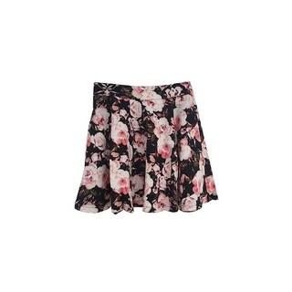 Womens Stretchy Flared Pleates Mini Skater Skirt Rose Floral Black