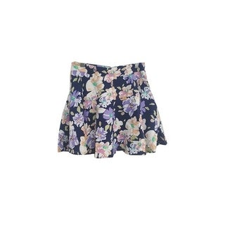 Womens Stretchy Flared Pleates Mini Skater Skirt Floral Navy (3 options available)