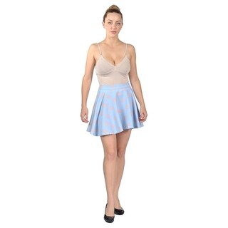 Womens Stretchy Flared Pleates Mini Skater Skirt Polka Dot Blue