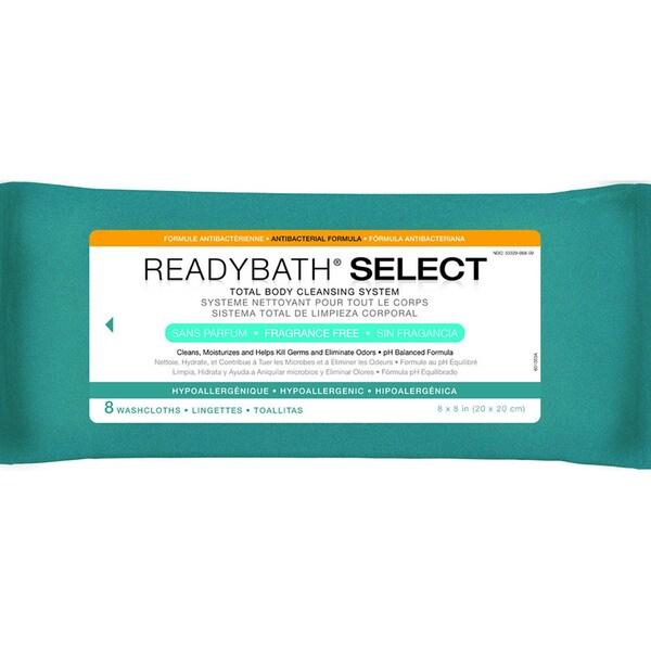 ReadyBath SELECT Total Body Cleansing Medium Weight Washcloths Antibacterial Formula Fragrance-Free
