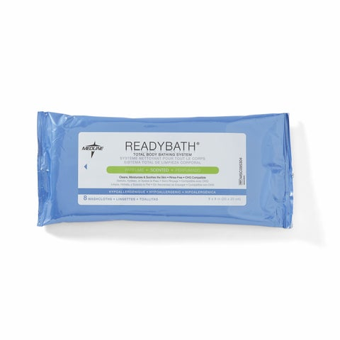Medline ReadyBath Total Body Cleansing Standard Weight Washcloths Scented (Case of 30)