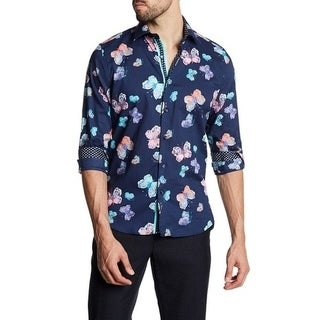 Printed Colorful Butterfly Slim-Fit Dress Shirt