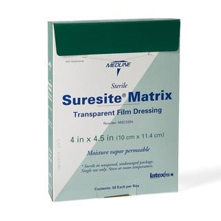 Medline Suresite Transparent Matrix Dressing 4-inch x 4.5-inch (Case of 50)