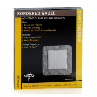 Medline Gauze Border 6x6-inch/4.25 x 4-inch (Pack of 150)
