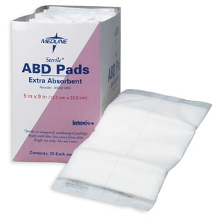 Medline Abdominal Pad 5 x 9-inch Non-Sterile (Pack of 576)