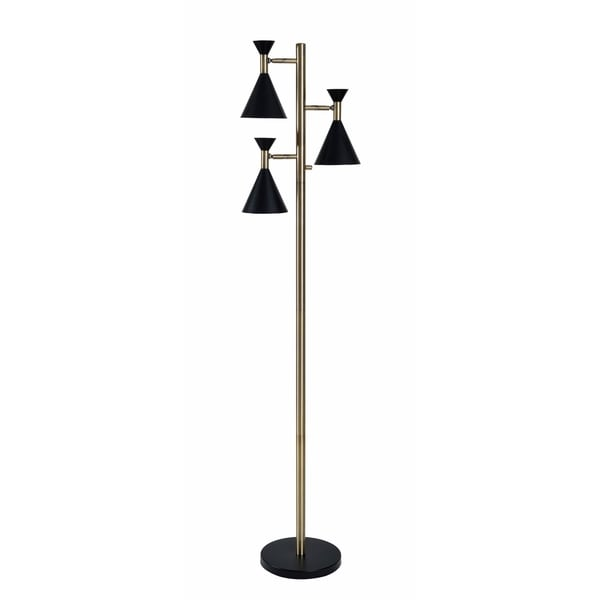 Design Craft Draper Black and Antique Brass 3-Light Tree Lamp