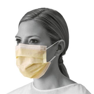 Medline Yellow Isolation Earloop Held Face Mask (Case of 300)