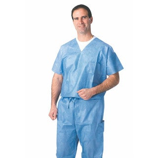 Medline Disposable Blue Large Drawstring Scrub Pants (Case of 30)