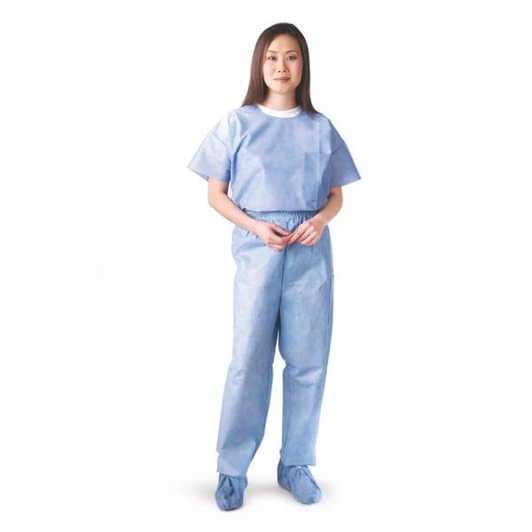 Medline Round-Neck Scrub Shirt SMS Blue XL (Pack of 30)