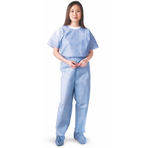 Medline Round-Neck Scrub Shirt SMS Blue XXL (Pack of 30)