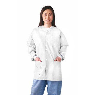 Medline Lab Jacket, SMS, Knit Collar, L (bulk pack of 30)