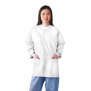 Medline Lab Jacket, SMS, Knit Collar, S (bulk pack of 30)