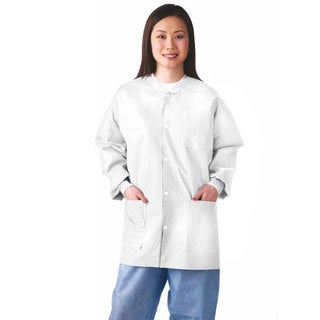 Medline Lab Jacket, SMS, Knit Collar, White, XL (bulk pack of 30)