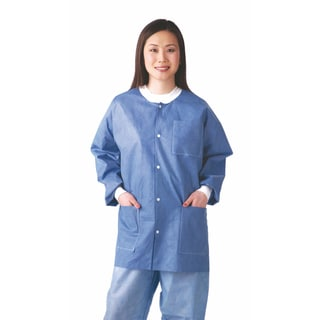 Medline Lab Jacket, SMS, Knit Collar, Blue, L (bulk pack of 30)