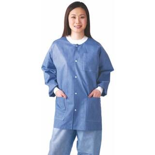 Medline Lab Jacket, SMS, Knit Collar, Blue, M (bulk pack of 30)