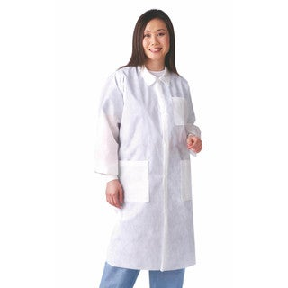Medline White Medium Traditional Collar Disposable Lab Coat (Pack of 30)