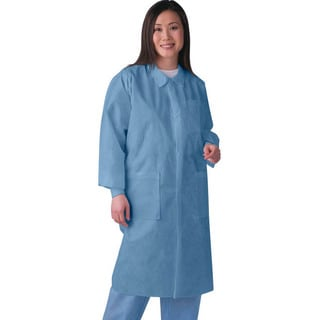Medline Lab Coat SMS Traditonal Collar Blue M (Pack of 30)