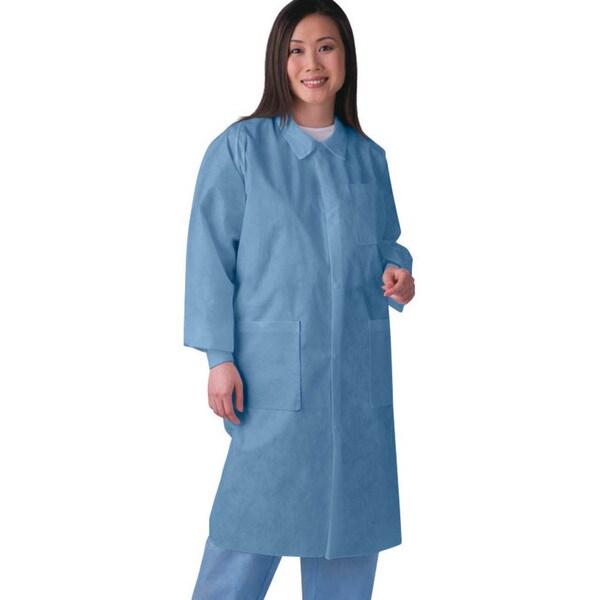 Medline Lab Coat SMS Traditonal Collar Blue XL (Pack of 30)