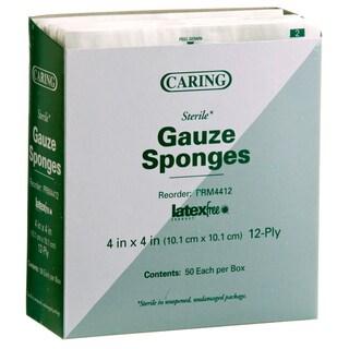 Medline Sterile 12-Ply 4-inch x 4-inch Gauze Sponge (Case of 1200)