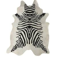 Zebra Black/White Authentic Cowhide - Hair-on Cowhide Real Leather - Multi - 5' x 7'