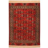 Handmade Herat Oriental Afghan Hand-Knotted Antique Turkoman 1920's Wool Rug (3'7 x 5'2)