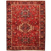 Handmade Herat Oriental Persian Hand-Knotted Antique Karaja 1920's Wool Rug (3'10 x 4'9) - 3'10 x 4'9