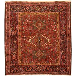 Handmade Herat Oriental Persian Hand-Knotted Antique Karaja 1920's Wool Rug (4' x 4'5)