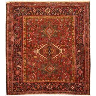 Handmade Herat Oriental Persian Hand-Knotted Antique Karaja 1920's Wool Rug (4' x 4'5) - 4' x 4'5