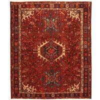 Handmade Herat Oriental Persian Hand-Knotted Antique Karaja 1920's Wool Rug (3'7 x 4'5) - 3'7 x 4'5