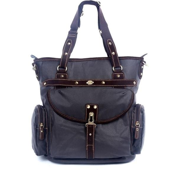Womens Leather Top Handle Shoulder Handbag Dolphin Large Work Tote Bag