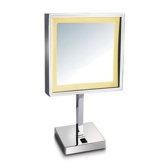 Whitehaus Collection Square Freestanding Led 5X Magnified Mirror