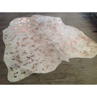 Metallic Gold/Ivory Hair-on Cowhide Real Leather Rug (5' x 7')