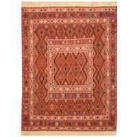 Handmade Herat Oriental Afghan Hand-woven Soumak Wool Kilim (Afghanistan) - 4' x 5'2