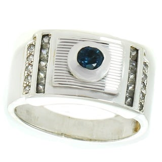 Michael Valitutti Sterling Silver London Blue Topaz & Cubic Zirconia Men's Ring