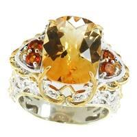 Michael Valitutti Palladium Silver Citrine & Yellow Sapphire Ring