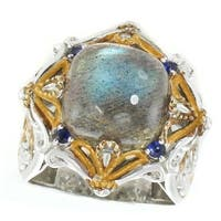 Michael Valitutti Palladium Silver Cushion Labradorite & Blue Sapphire Ring
