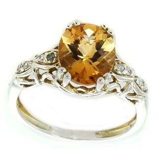 Michael Valitutti 14K White Gold Oval Citrine Diamond Ring