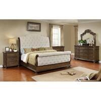 Best Master Furniture Weathered Oak Sleigh Upholstered 5 Pcs Bedroom Set