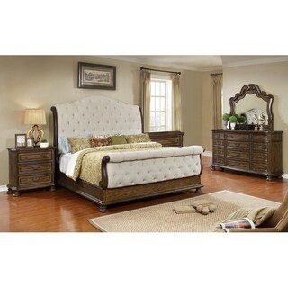 Best Master Furniture Weathered Oak Sleigh Upholstered 5 Pcs Bedroom Set