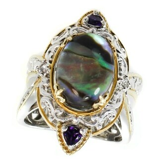 Michael Valitutti Palladium Silver Abalone, Amethyst & White Sapphire Ring