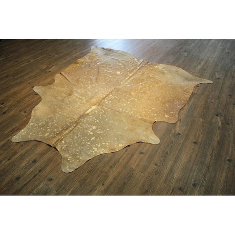 Camel/Metallic Gold Authentic Cowhide - Hair-on Cowhide Real Leather - Multi - 5' x 7' - 5' x 7'