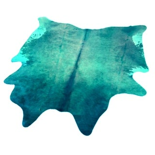 Blue Authentic Cowhide - Hair-on Cowhide Real Leather - 5' x 7'
