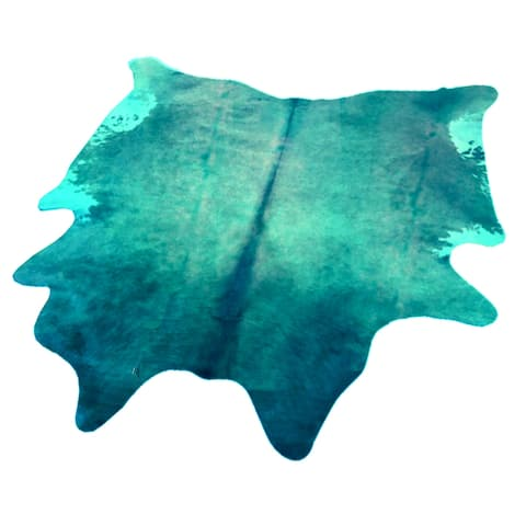 Blue Authentic Cowhide - Hair-on Cowhide Real Leather - 5' x 7' - 5' x 7'
