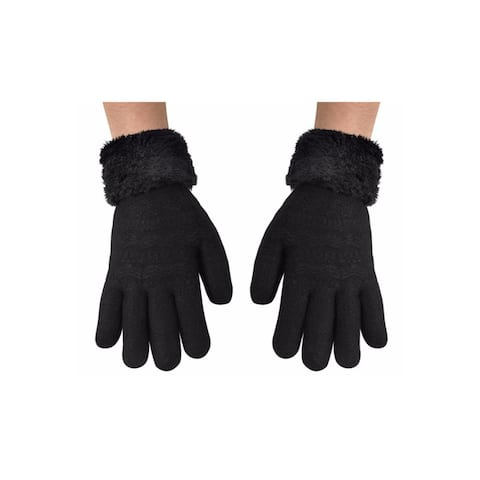 Peach Couture Women's Plush Fleece Cuffs Cold Weather Gloves